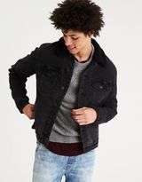 American Eagle Outfitters AE Faux Sherpa Lined Black Denim Jacket