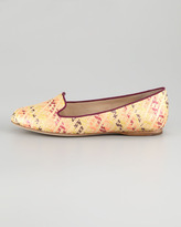 Vera Wang Hurley Raffia Smoking Slipper, Pink/Multicolor