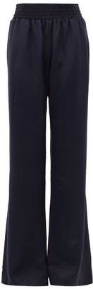 Gabriela Hearst Themis High-rise Silk Flared Trousers - Dark Navy