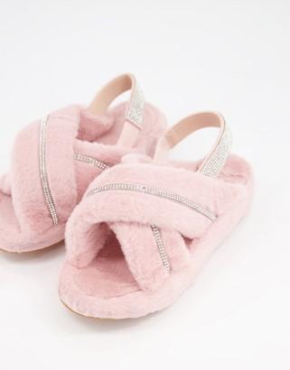 Public Desire Babygirl diamante slippers in baby pink