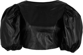 New Look Pink Vanilla Leather-Look Puff Sleeve Crop Top