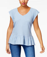 Style&Co. Style & Co Petite Cotton Jacquard Peplum Top, Created for Macy's