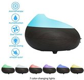 Aroma Essential, Oil Diffuser, GLISTENY Cool Mist Humidifier Ultrasonic Cool Mist Purifier Aromatherapy Diffuser Wood Grain Colorful lights for Home Yoga Office Spa Bedroom
