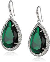ABS by Allen Schwartz Silver Tone with Emerald Color Crystal and Pave Earrings
