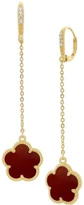 Jan Kou Flower Goldplated, Coral Agate Cubic Zirconia Drop Earrings