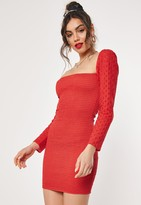 Missguided Red Broderie Anglaise Shirred Bodycon Mini Dress