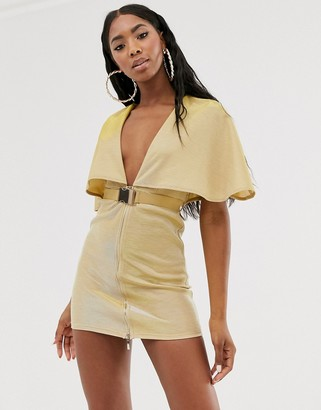 Rare plunge belted cape mini dress in gold