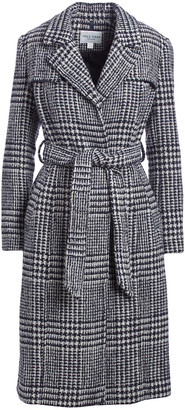 Cole Haan Women's Trench Coats [CHA]CHARCOAL - Charcoal Plaid Prince of Wales Wool-Blend Trench Coat - Women