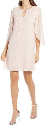 Connected Apparel Burnout Slit Sleeve Sheath Dress