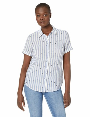 Tribal Women's Short Sleeve Camp Shirt in Palm Print