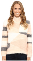 Vince Camuto Long Sleeve Turtleneck Mix Eyelash Intarsia Sweater
