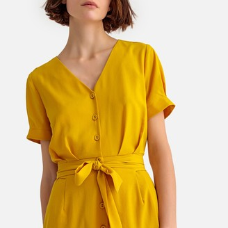 La Redoute Collections Button-Through Mid-Length Dress with Short Sleeves