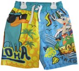 Phineas and Ferb Little Boys Sky Blue Printed Swim Wear Shorts