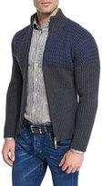 Etro Colorblock Ribbed Full-Zip Cardigan