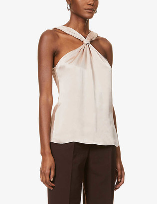 Reiss Neavah knotted-back satin top