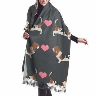 Meiya Design Women's Fall Winter Scarf Basset Hound Love Cute Valentines Hearts Dog Classic Scarf Warm Soft Large Blanket Wrap Shawl Scarves