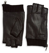 John Varvatos Leather Fingerless Gloves