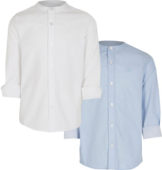 River Island Boys white and blue grandad shirt 2 pack