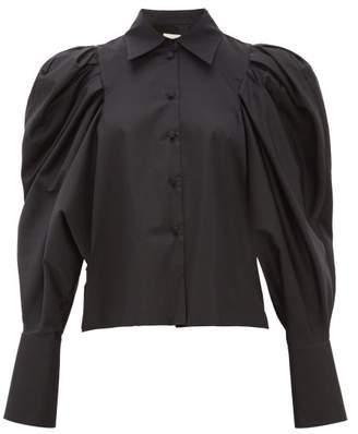 KHAITE Brianne Balloon-sleeve Cotton Shirt - Womens - Black