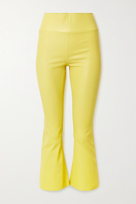 Sprwmn Cropped Leather Flared Pants - Pastel yellow