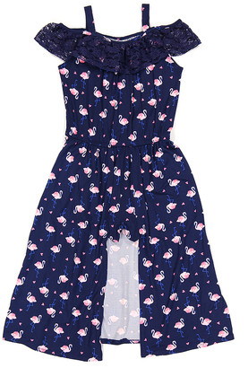 One Step Up Girls' Jumpsuits VANILLA/NAVY - Navy Flamingo Print Flutter-Sleeve Walk-Through Maxi Dress - Girls