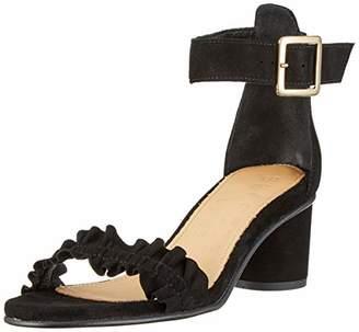 Selected Women's Slfmerle Suede Round Heel Ruffle Sandalb Ankle Strap Sandals, Black
