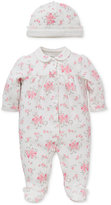 Little Me Baby Girls' 2-Pc. Floral-Print Hat & Footed Coverall Set