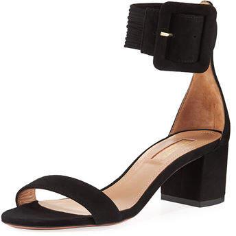 Aquazzura Casa Blanca Suede Ankle-Strap Sandal