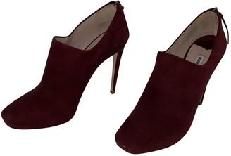 Miu Miu Burgundy Suede Ankle boots