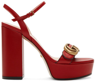 Gucci Red GG Platform Sandals