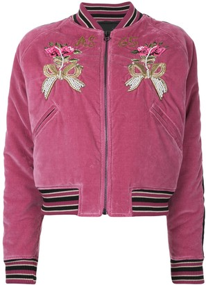 As65 Flower-Embroidered Bomber Jacket