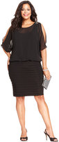 R & M Richards R&M Richards Plus Size Split-Sleeve Pleated Dress