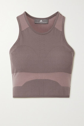 adidas by Stella McCartney Cropped Seamless Perforated Stretch-knit Tank - Light brown