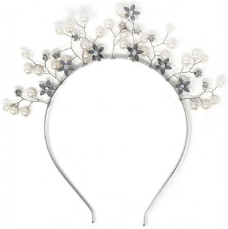 Johnny Loves Rosie Silver Floral Embellished Crown Headband