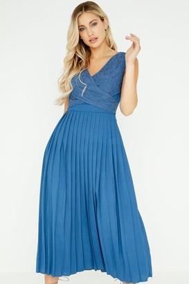 Little Mistress Margot Blue Lace Top Pleat Midaxi Dress