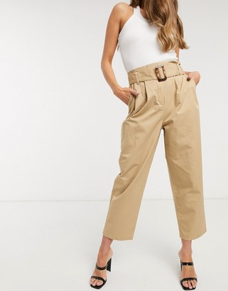 Object cropped trousers with belted waist in camel