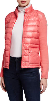 Moncler Knit-Sleeve Puffer Cardigan