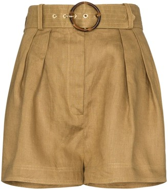 Zimmermann belted box-pleated shorts