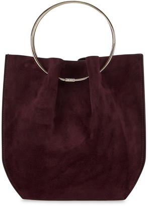 The Row Micro Oxblood Suede Top Handle Bag