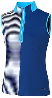 Cutter & Buck Women's Tee Shirts Blue - Blue Stripe Mix Sleeveless Mock Neck Top - Women