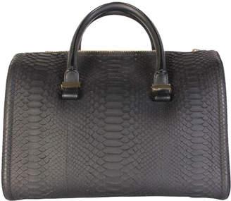 Victoria Beckham Black Python Leather Top Handle Bag