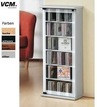 VCM Cabinet Shelf Storage Unit CD DVD Furniture Stand Cupboard Bookcase Wood Glass Classic Core Walnut