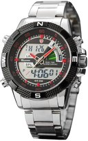 Shark Men's SH049 Digital Alarm Day Date Stainless Mens Sport Wrist Watch Red Dial