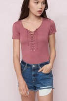 Garage Front Lace-Up Ringer Tee