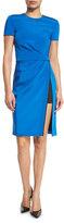 J. Mendel Topstitched Short-Sleeve Side-Slit Dress, Azure
