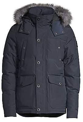 Moose Knuckles Men's Round Island Blue Frost Fox Fur-Trim Down Jacket