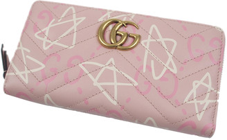Gucci Pink/White Leather GucciGhost Zip Around Wallet