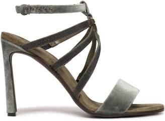 Brunello Cucinelli Bead-embellished Velvet Sandals