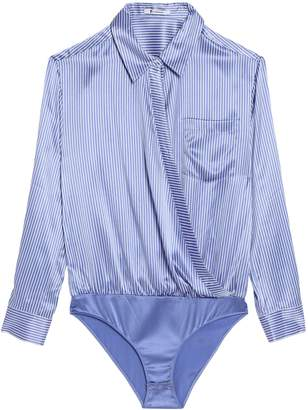 Alexander Wang Wrap-effect Striped Silk-satin Bodysuit