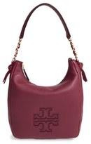 Tory Burch 'Harper' Leather Zip Hobo - Burgundy